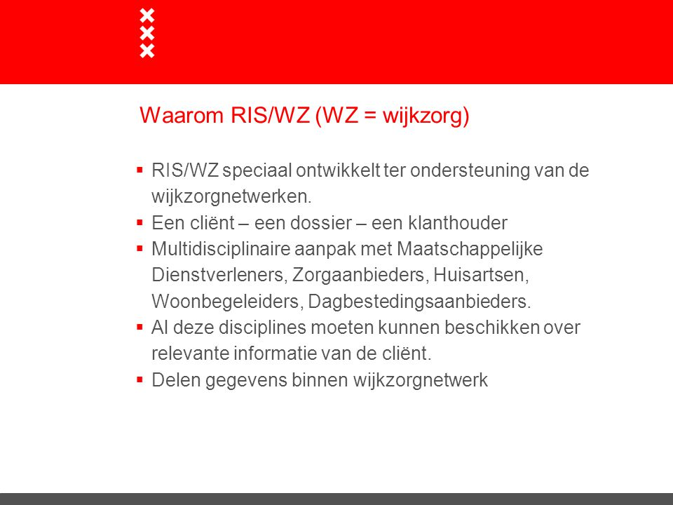 Waarom RIS/WZ (WZ = wijkzorg)