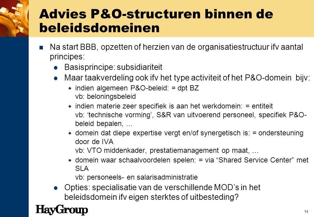 Advies P&O-structuren binnen de beleidsdomeinen