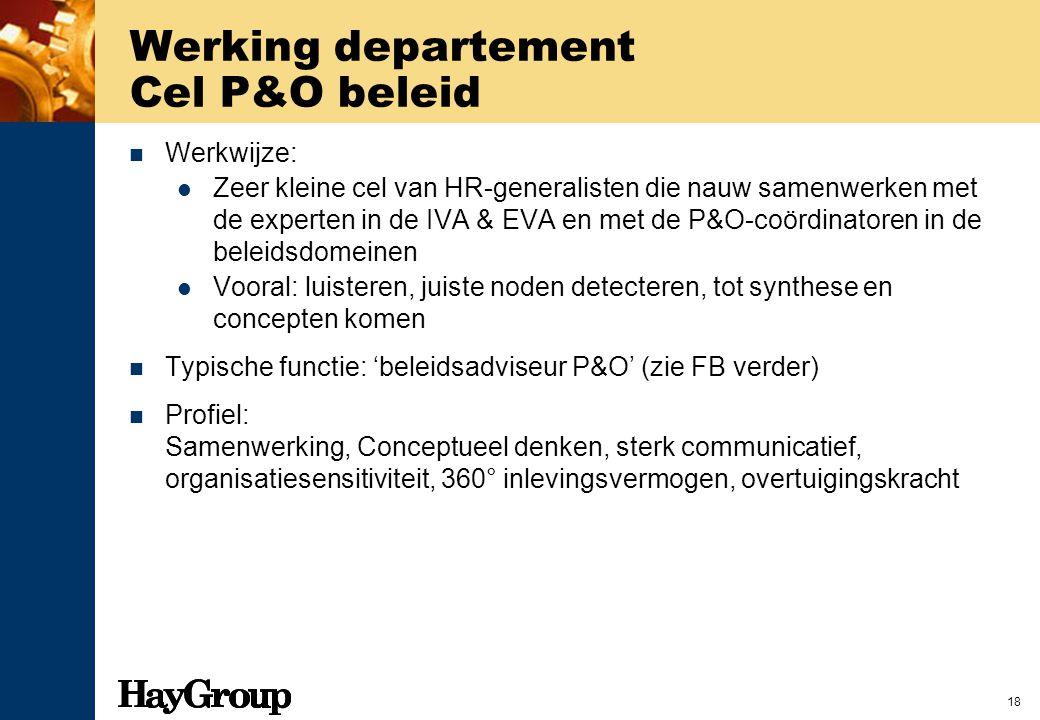 Werking departement Cel P&O beleid