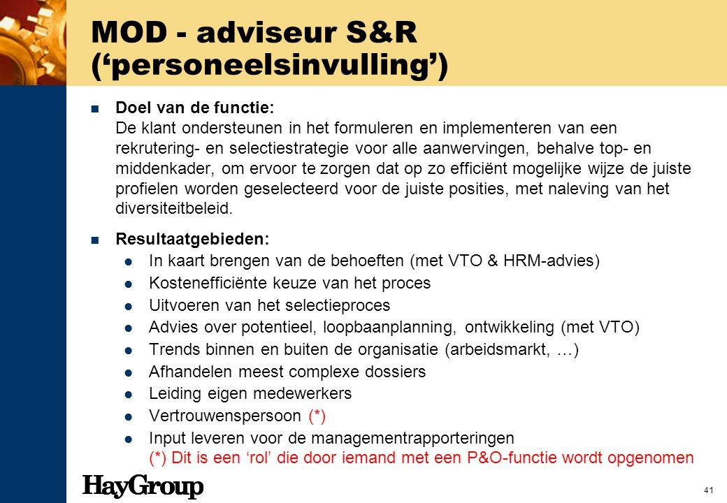 MOD - adviseur S&R ('personeelsinvulling')