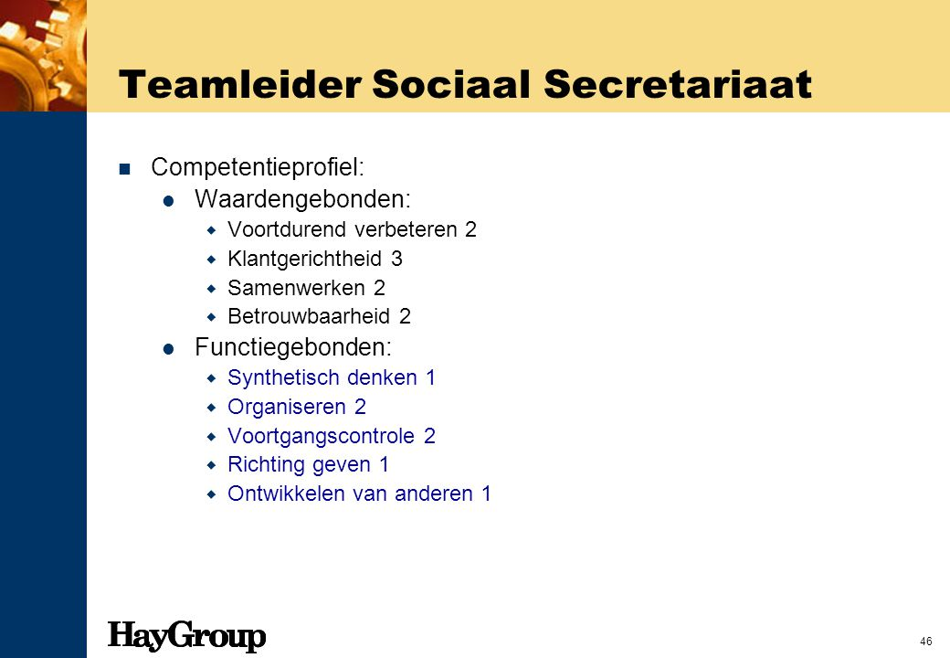 Teamleider Sociaal Secretariaat