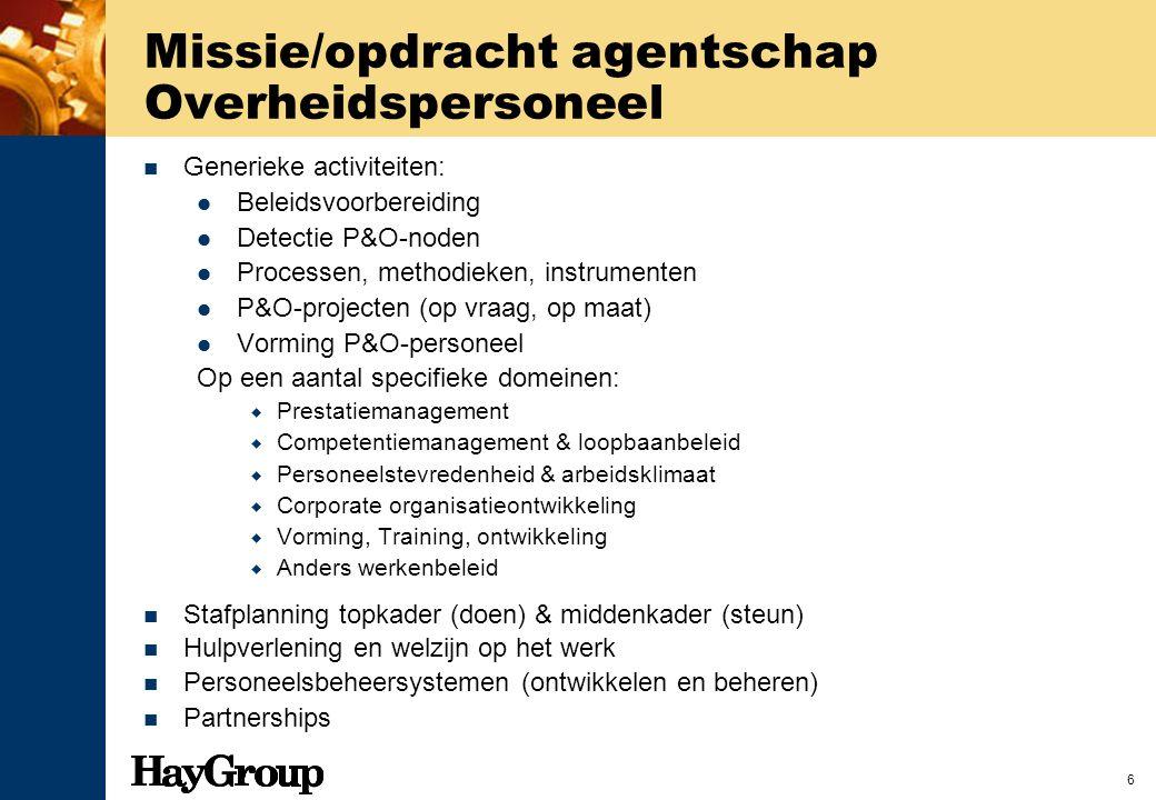 Missie/opdracht agentschap Overheidspersoneel