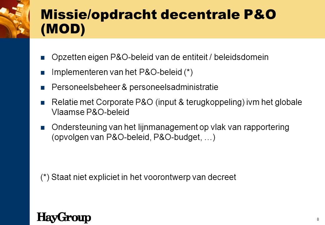 Missie/opdracht decentrale P&O (MOD)