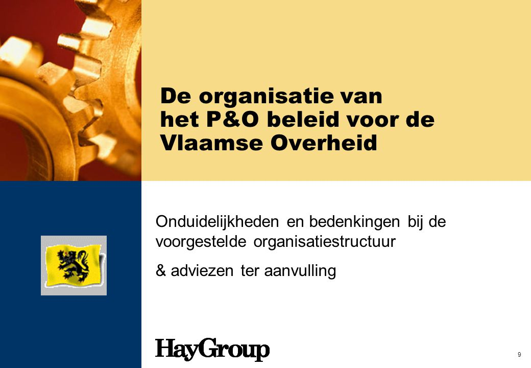 De organisatie van het P&O beleid voor de Vlaamse Overheid
