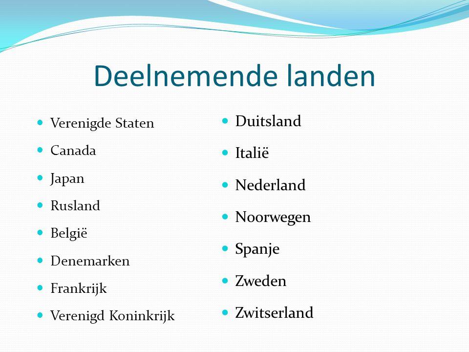 Deelnemende landen Duitsland Italië Nederland Noorwegen Spanje Zweden