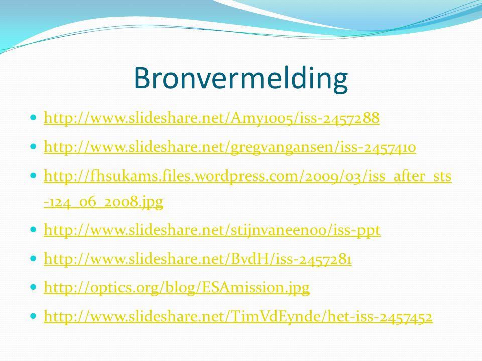Bronvermelding http://www.slideshare.net/Amy1005/iss-2457288