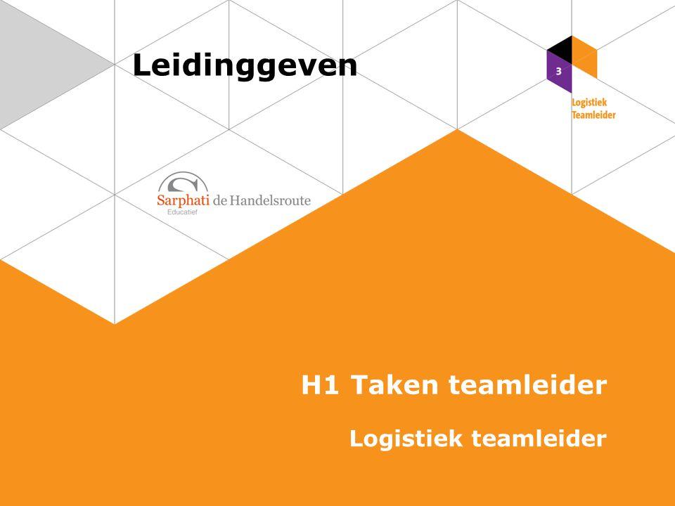 Leidinggeven H1 Taken teamleider Logistiek teamleider