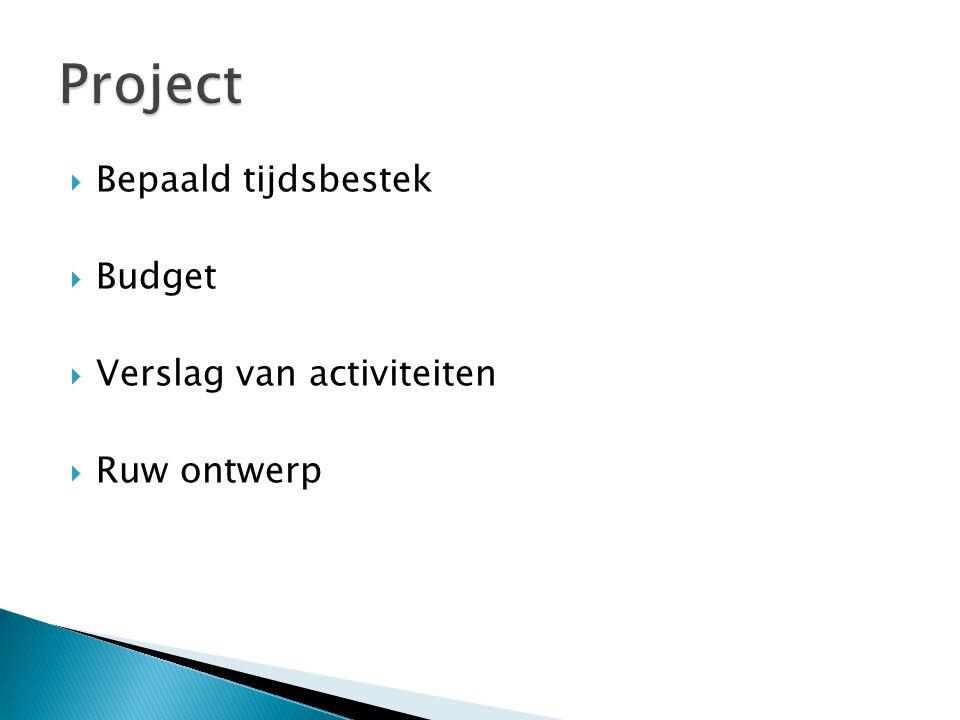 Project Bepaald tijdsbestek Budget Verslag van activiteiten