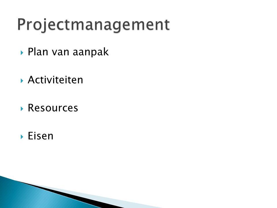 Projectmanagement Plan van aanpak Activiteiten Resources Eisen