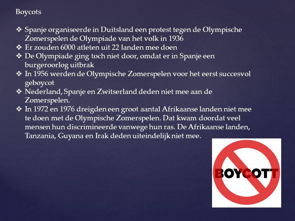 Boycots Spanje organiseerde in Duitsland een protest tegen de Olympische Zomerspelen de Olympiade van het volk in 1936.