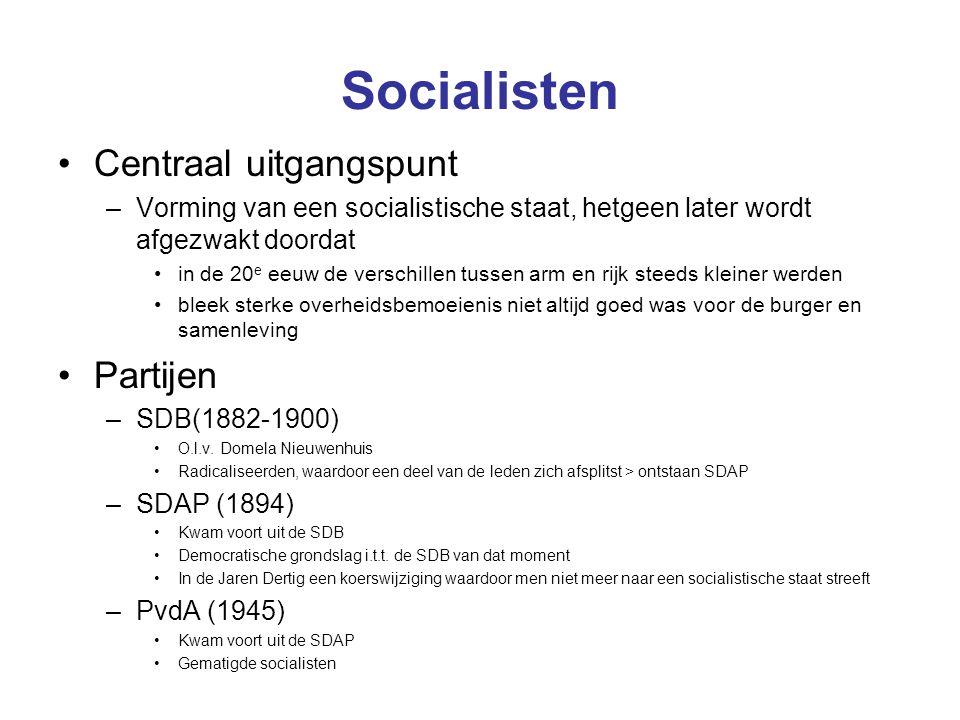 Socialisten Centraal uitgangspunt Partijen