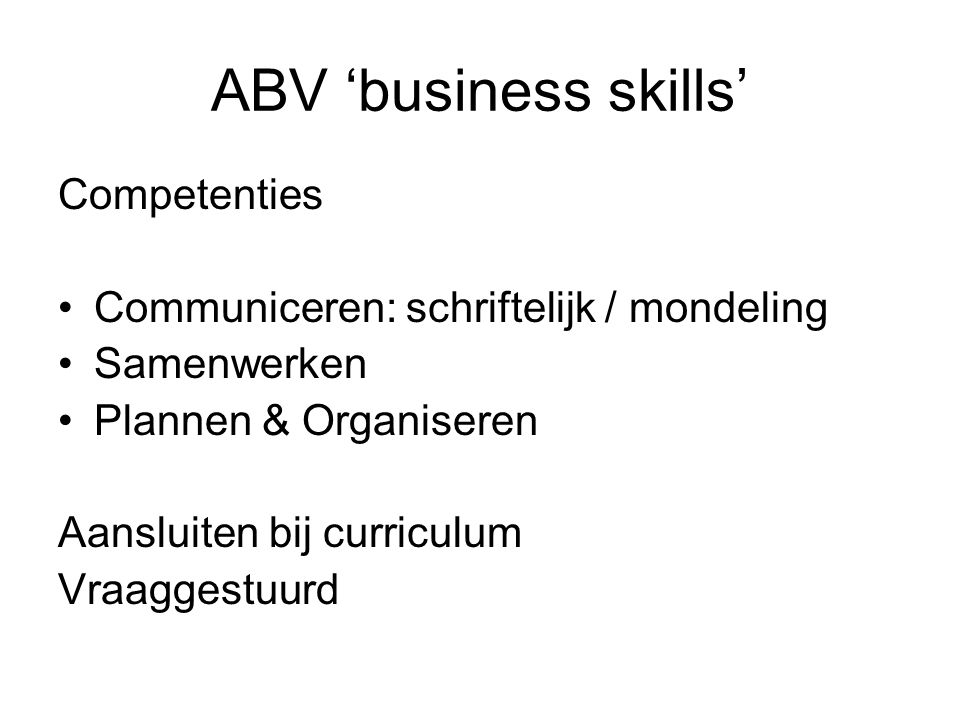 ABV 'business skills' Competenties