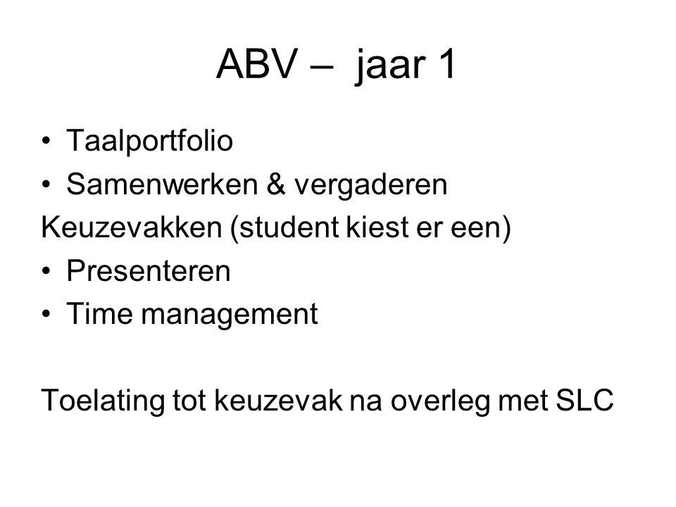 ABV – jaar 1 Taalportfolio Samenwerken & vergaderen