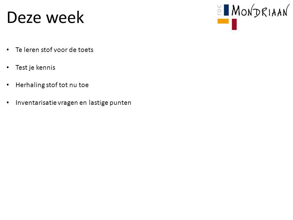 Deze week Te leren stof voor de toets Test je kennis