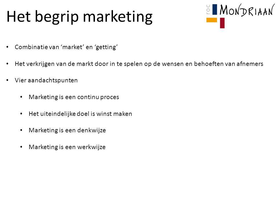 Het begrip marketing Combinatie van 'market' en 'getting'