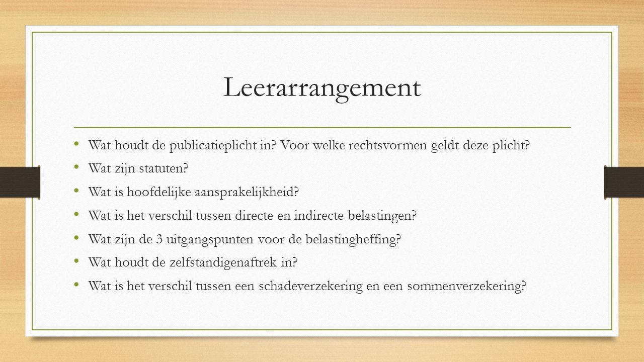 Leerarrangement Wat houdt de publicatieplicht in Voor welke rechtsvormen geldt deze plicht Wat zijn statuten