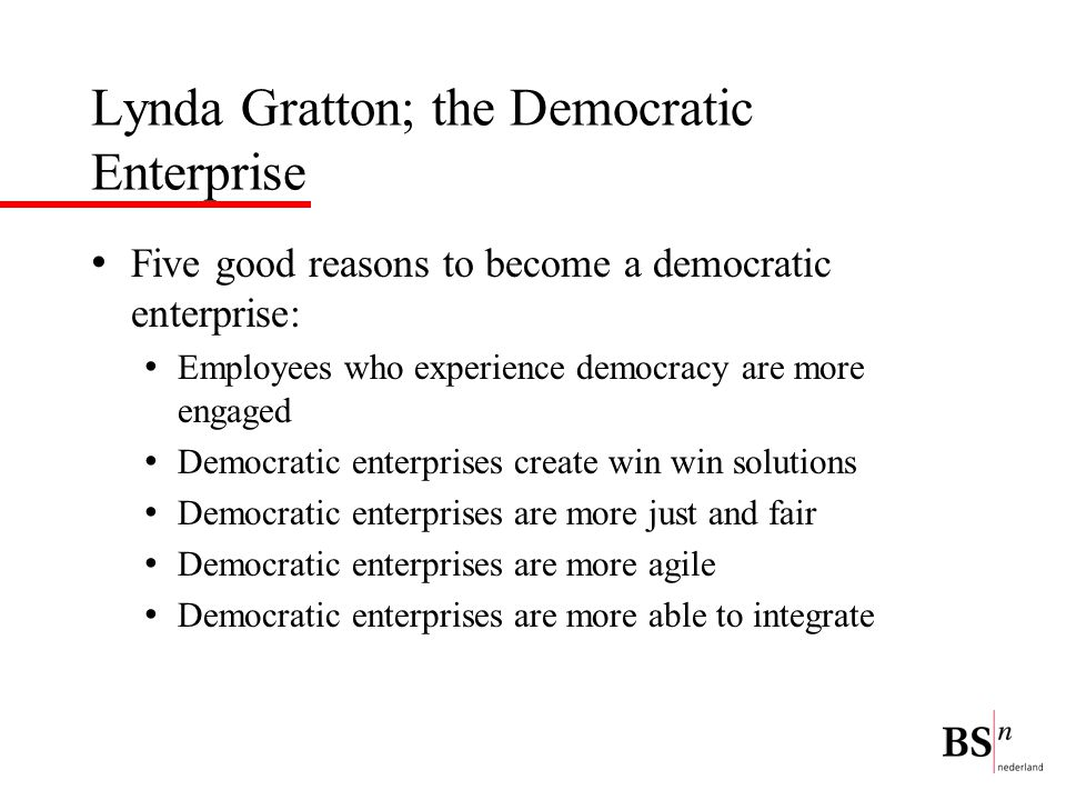 Lynda Gratton; the Democratic Enterprise
