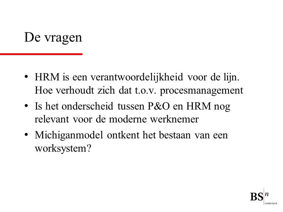 De vragen HRM is een verantwoordelijkheid voor de lijn. Hoe verhoudt zich dat t.o.v. procesmanagement.