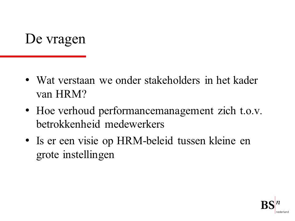 De vragen Wat verstaan we onder stakeholders in het kader van HRM