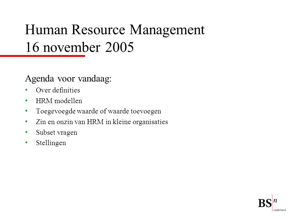 Human Resource Management 16 november 2005