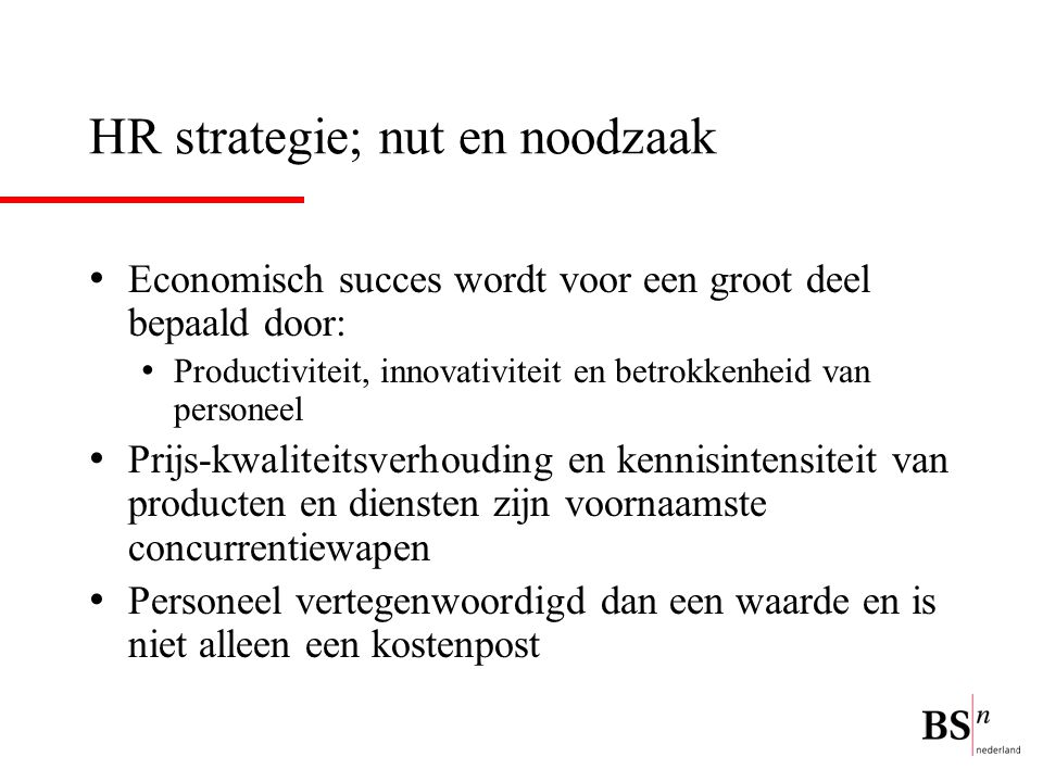 HR strategie; nut en noodzaak