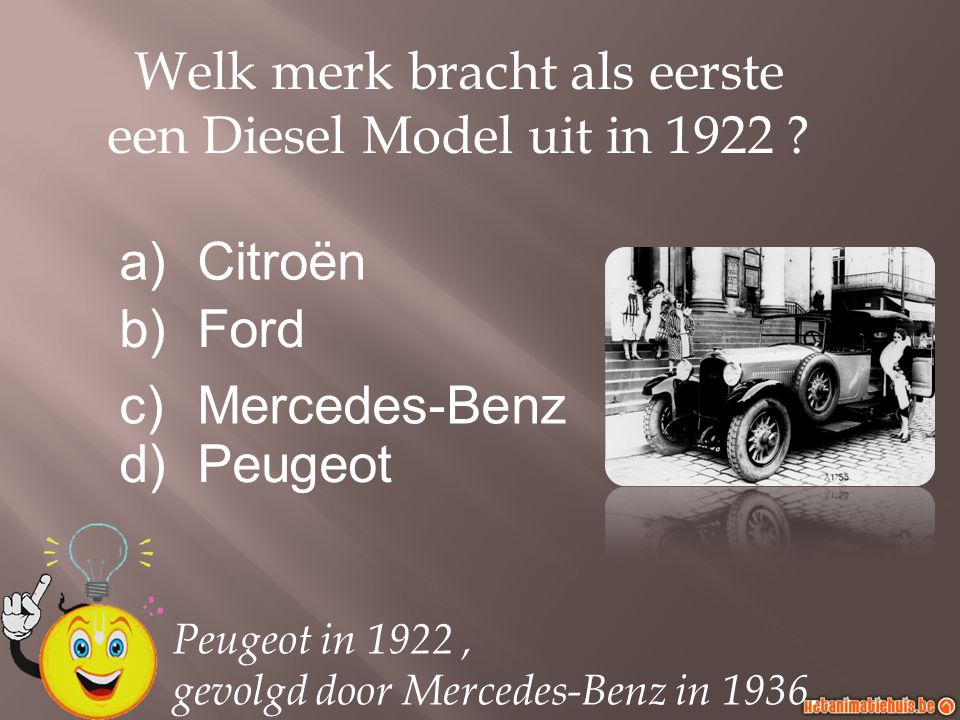 Welk merk bracht als eerste een Diesel Model uit in 1922