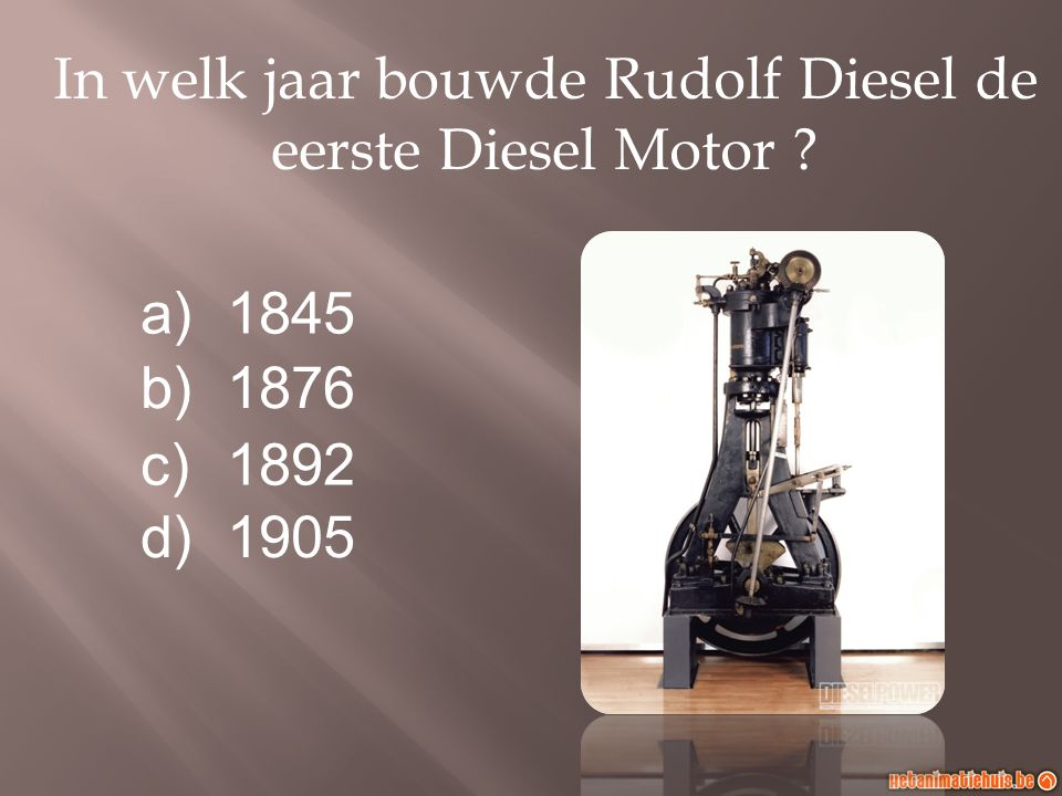 In welk jaar bouwde Rudolf Diesel de eerste Diesel Motor
