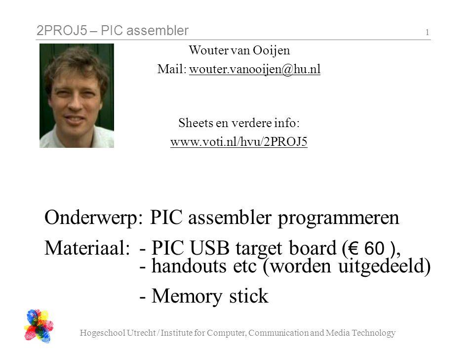 Onderwerp: PIC assembler programmeren