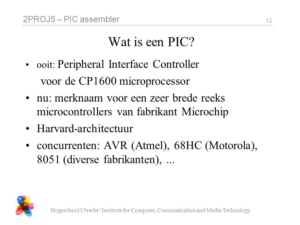 Wat is een PIC voor de CP1600 microprocessor