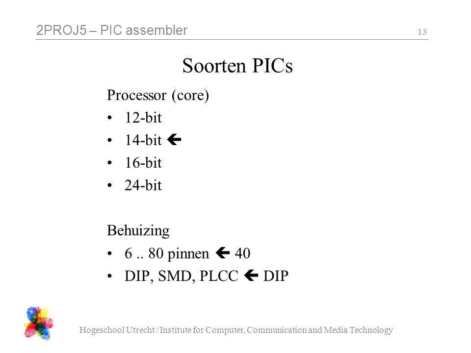 Soorten PICs Processor (core) 12-bit 14-bit  16-bit 24-bit Behuizing