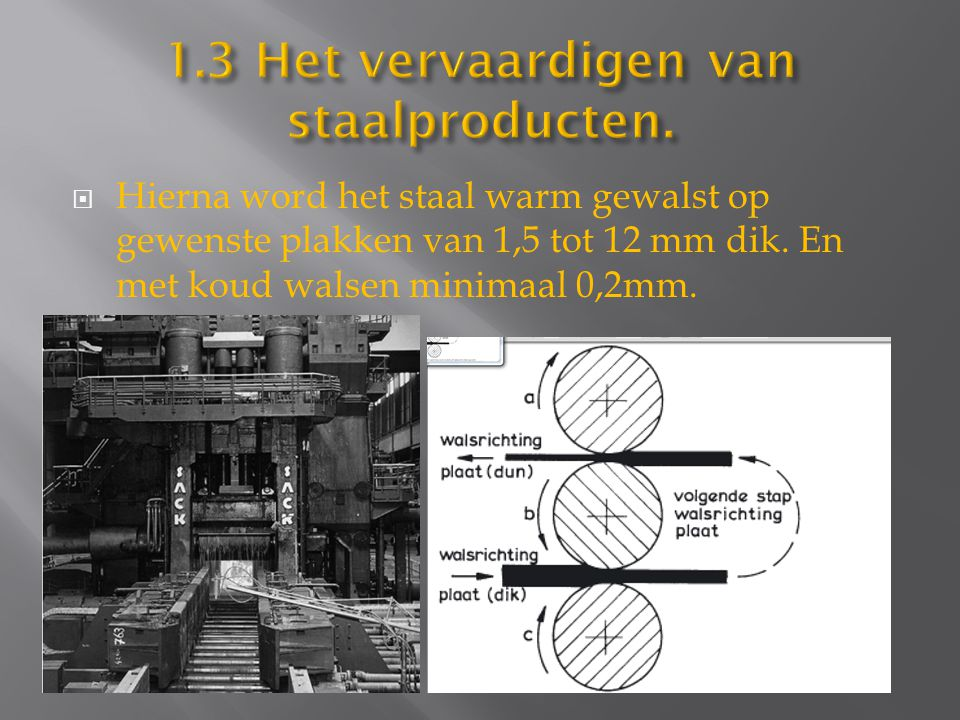 1.3 Het vervaardigen van staalproducten.