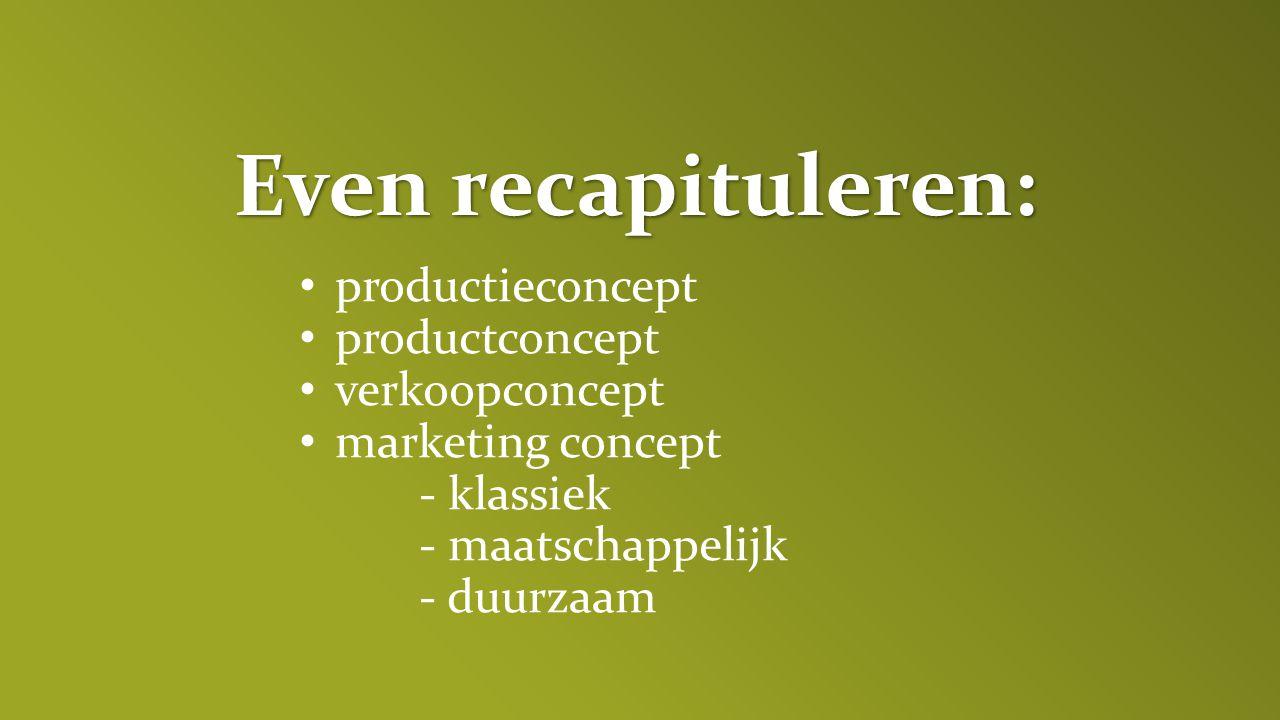 Even recapituleren: productieconcept productconcept verkoopconcept