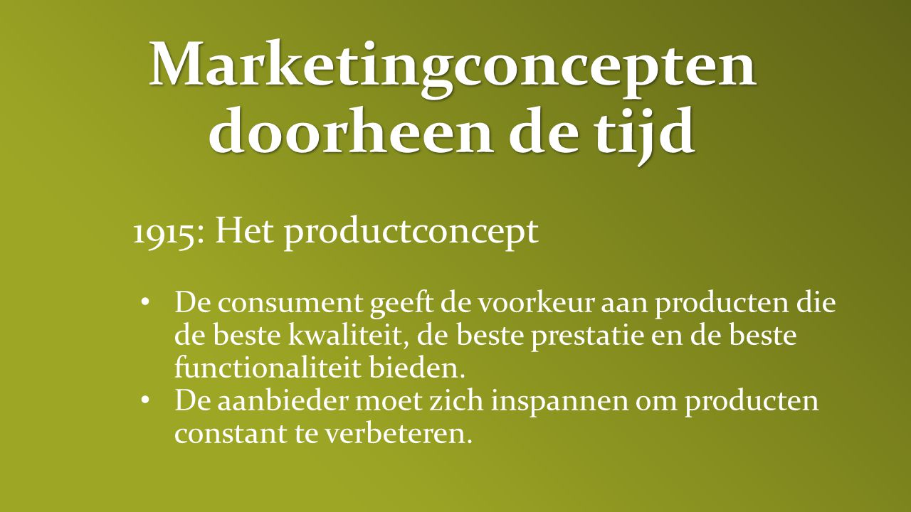Marketingconcepten doorheen de tijd
