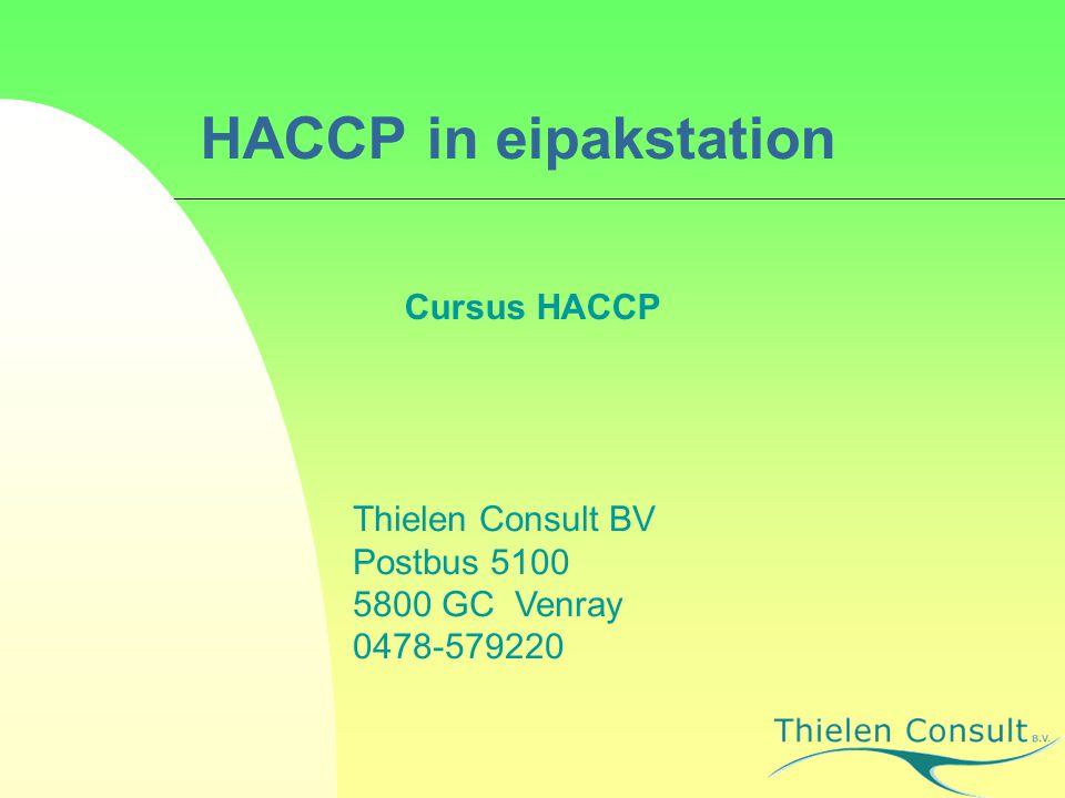 HACCP in eipakstation Cursus HACCP Thielen Consult BV Postbus 5100