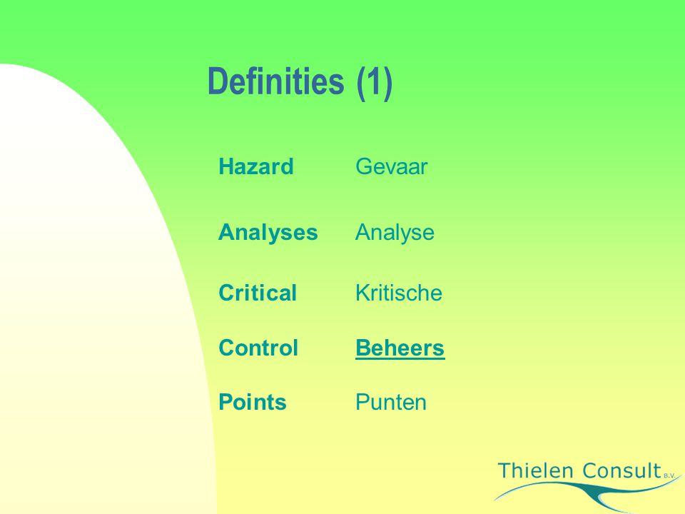 Definities (1) Hazard Gevaar Analyses Analyse Critical Kritische
