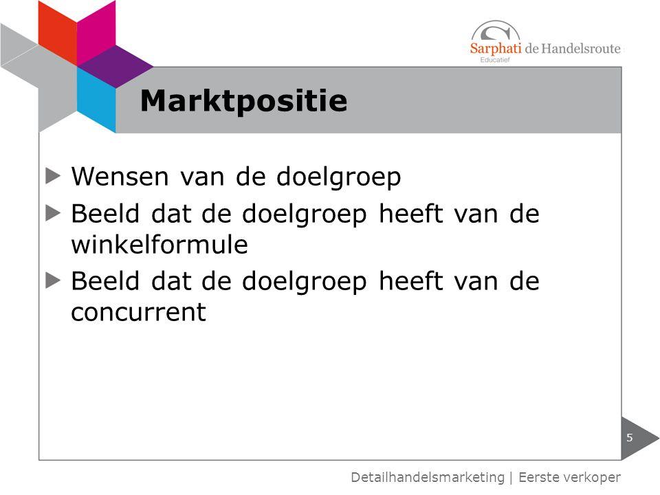 Marktpositie Wensen van de doelgroep
