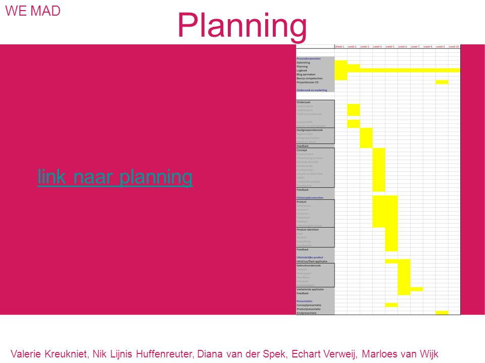 Planning link naar planning WE MAD