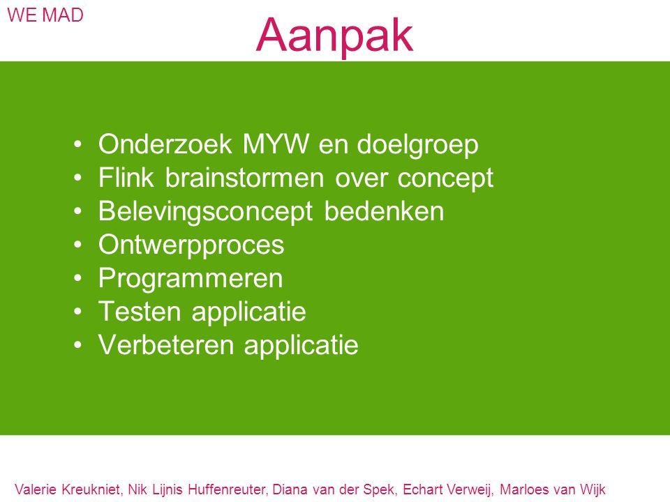 Aanpak Onderzoek MYW en doelgroep Flink brainstormen over concept