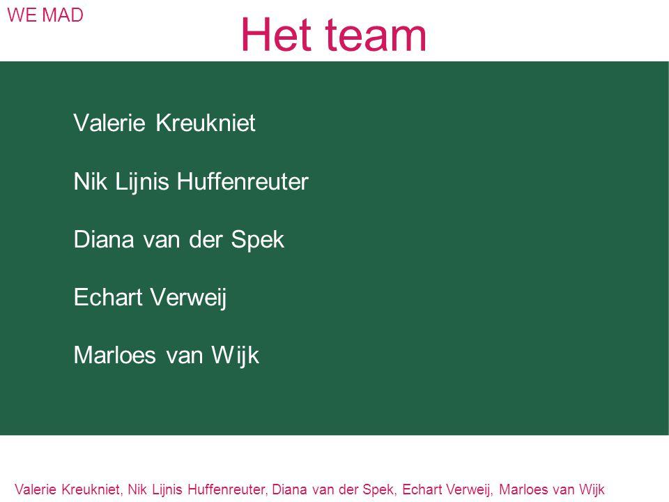 Het team Valerie Kreukniet Nik Lijnis Huffenreuter Diana van der Spek
