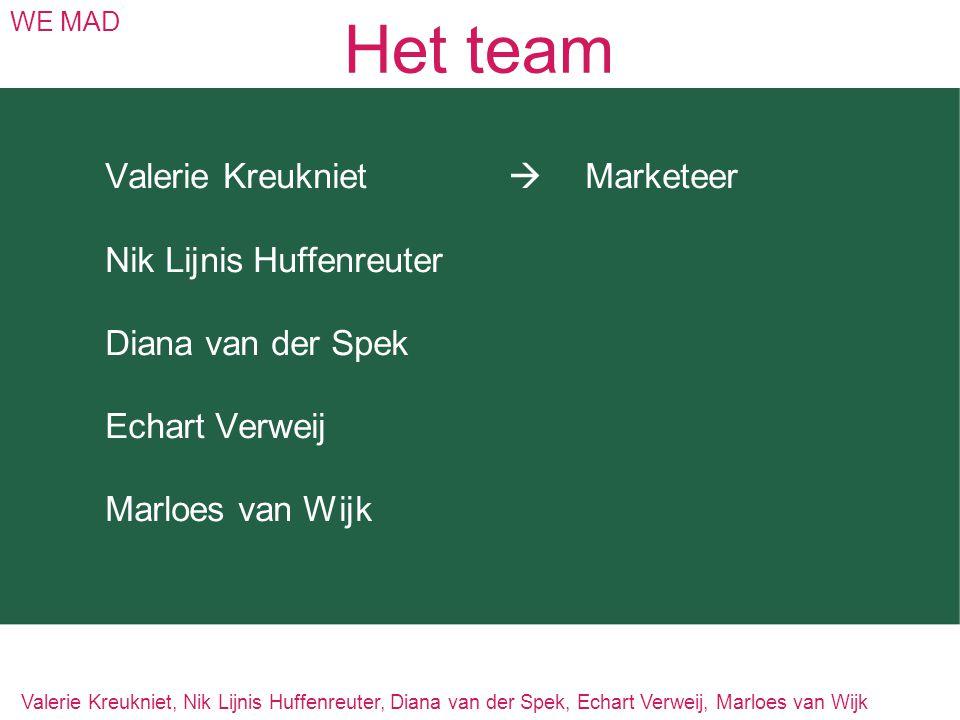 Het team Valerie Kreukniet  Marketeer Nik Lijnis Huffenreuter