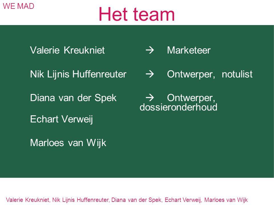 Het team Valerie Kreukniet  Marketeer