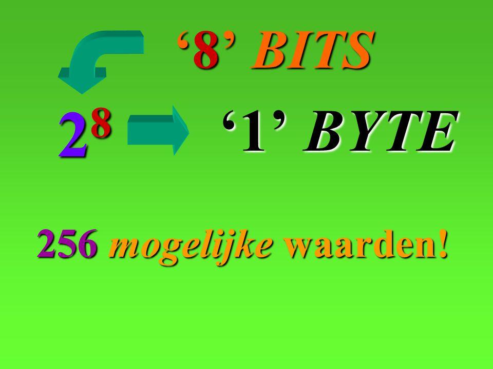 '8' BITS 28 '1' BYTE 256 mogelijke waarden!