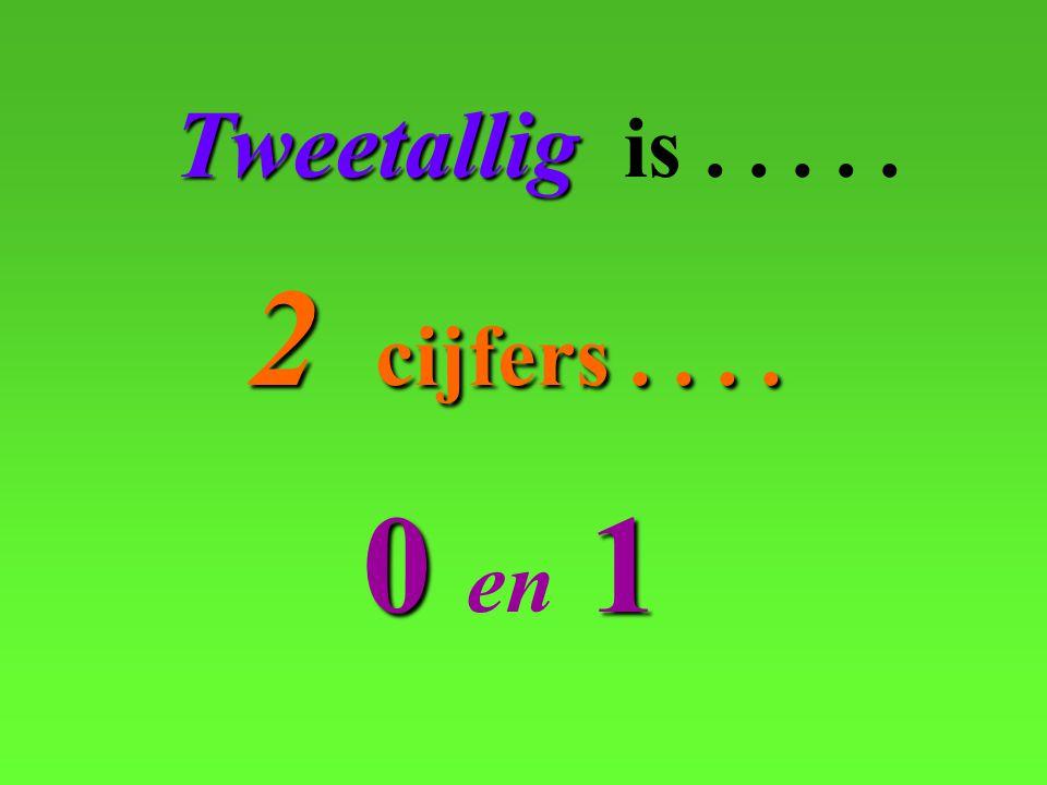 Tweetallig is . . . . . 2 cijfers . . . . 0 en 1