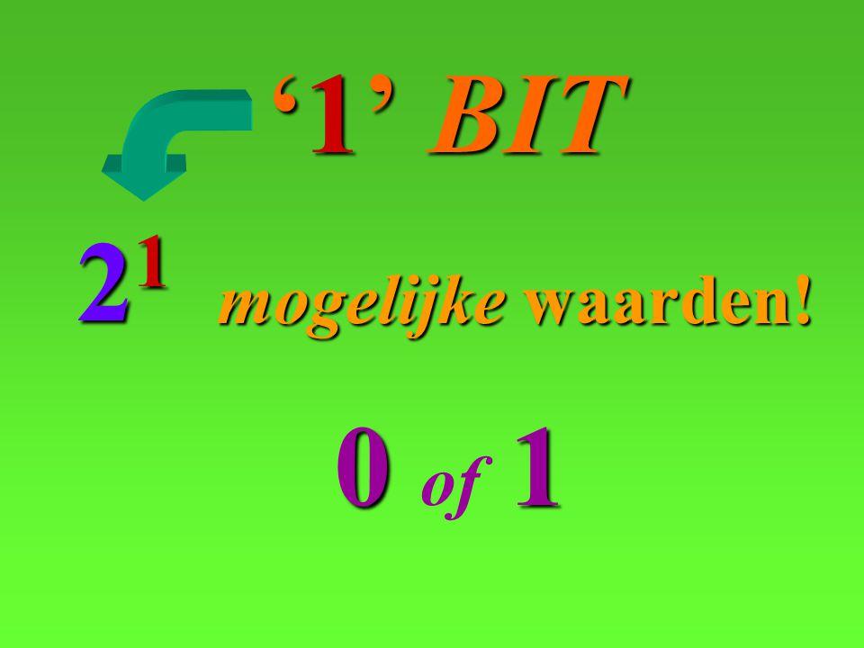 '1' BIT 21 mogelijke waarden! 0 of 1