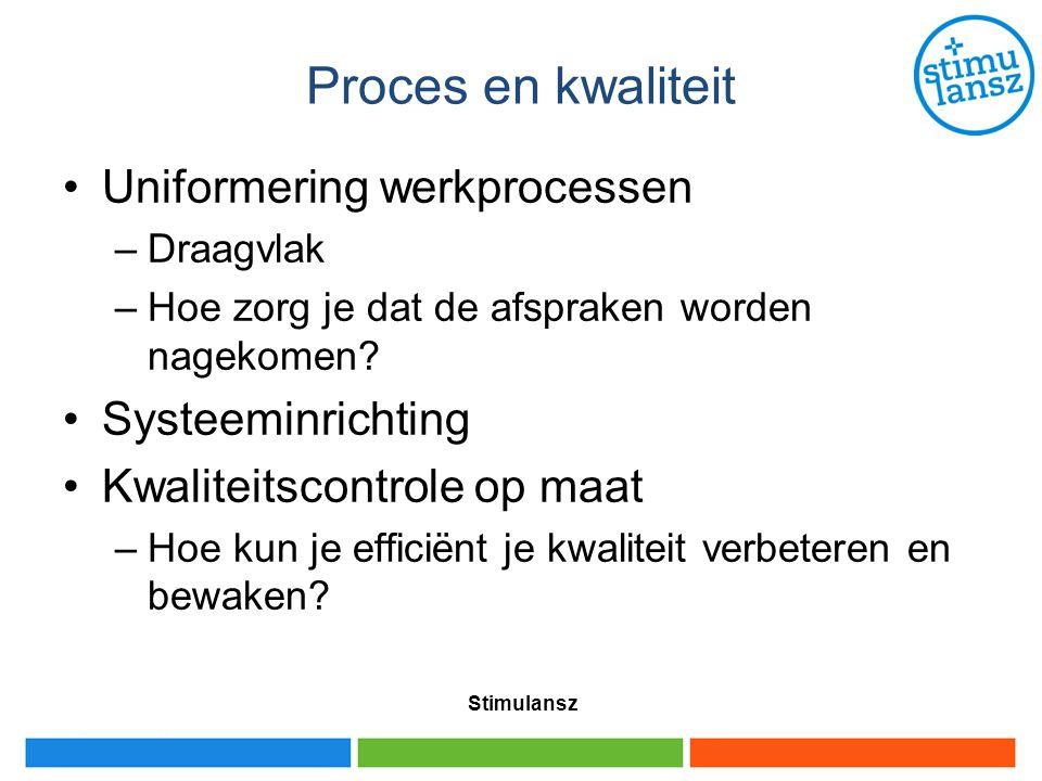 Proces en kwaliteit Uniformering werkprocessen Systeeminrichting