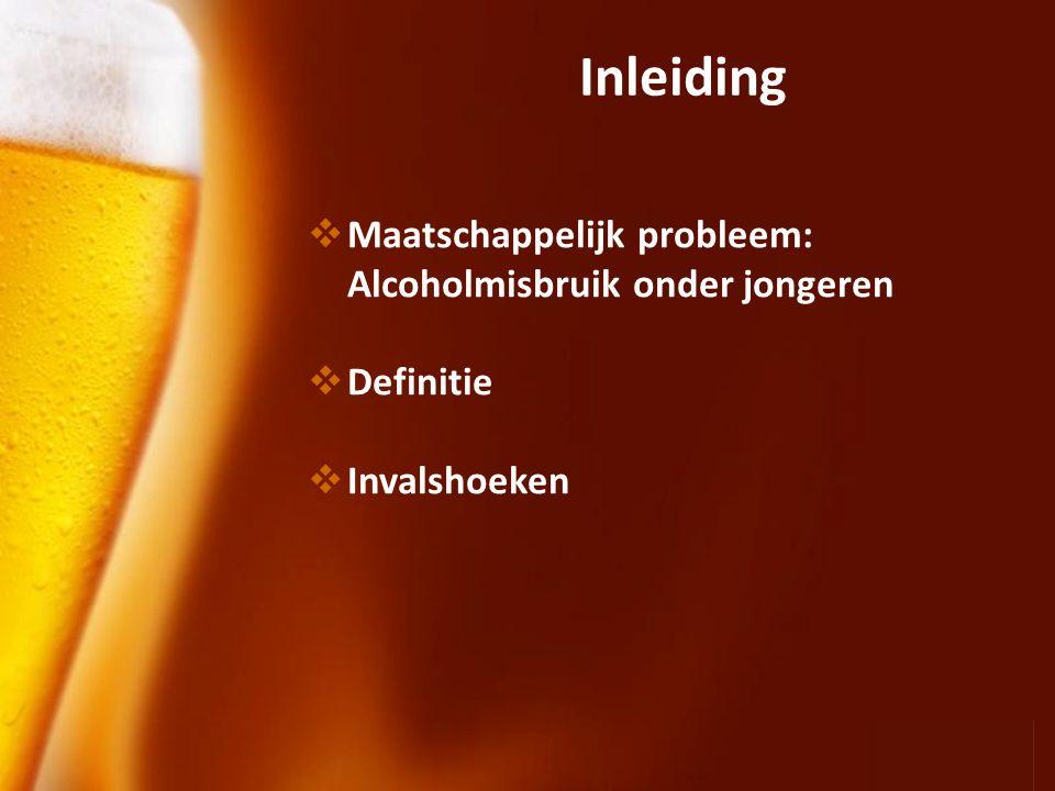 Inleiding Maatschappelijk probleem: Alcoholmisbruik onder jongeren