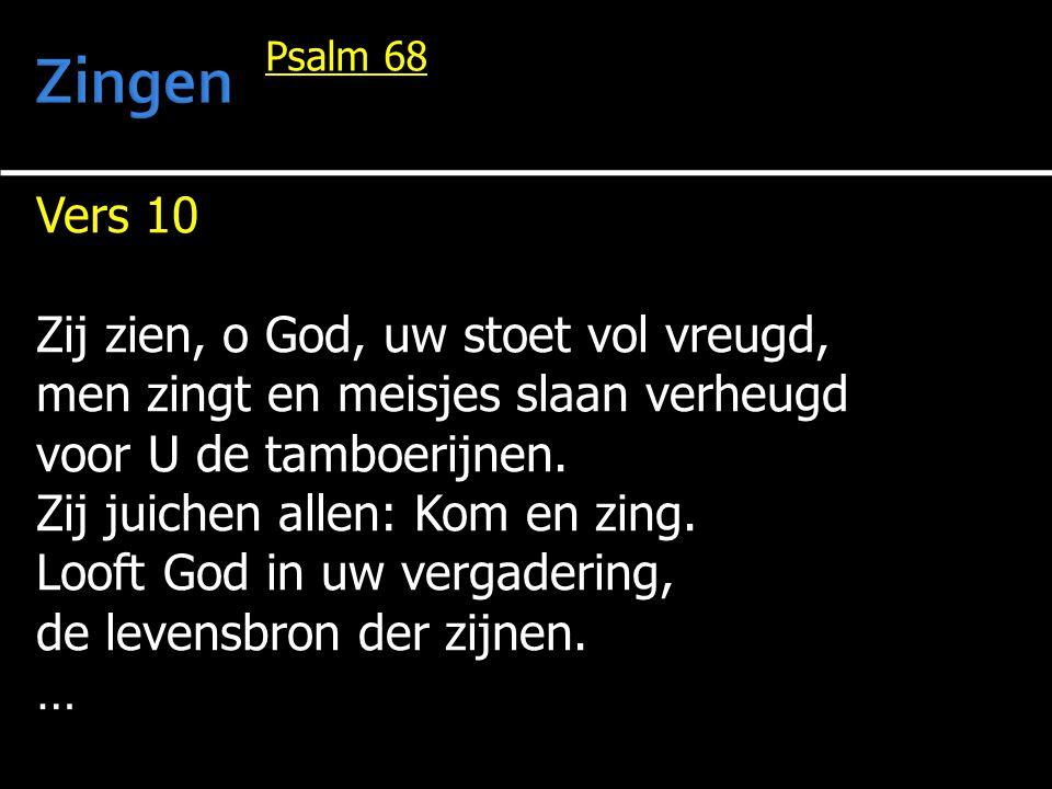 Zingen Vers 10 Zij zien, o God, uw stoet vol vreugd,