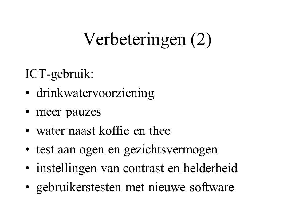 Verbeteringen (2) ICT-gebruik: drinkwatervoorziening meer pauzes