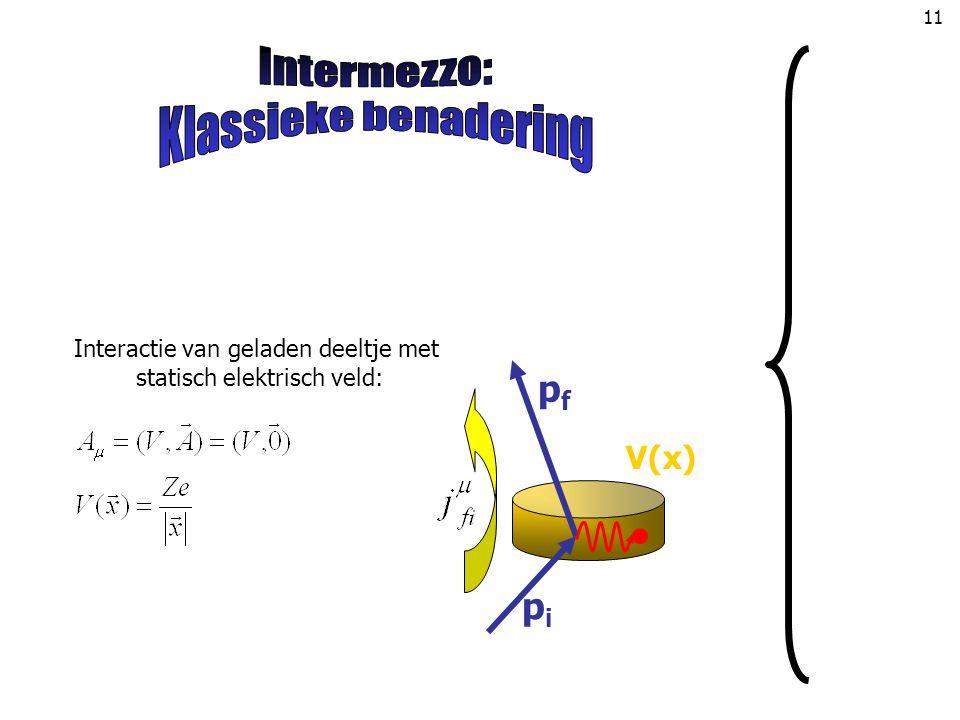 Intermezzo: Klassieke benadering pf pi V(x)