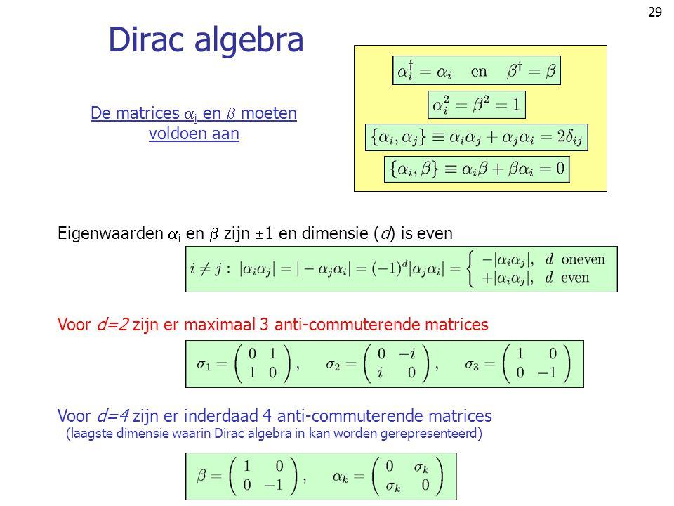 Dirac algebra De matrices i en  moeten voldoen aan